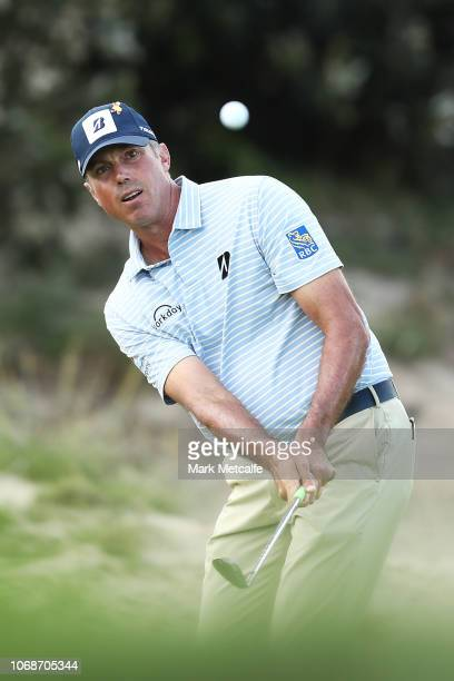 Matt Kuchar of the United States plays a chip shot on the 15th hole during day three of the 2018 Australian Golf Open at The Lakes Golf Club on...