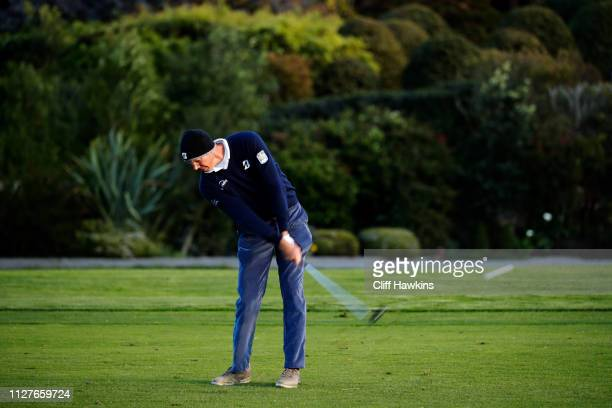 Matt Kuchar of the United States plays a shot during a practice round prior to the ATT Pebble Beach ProAm at Pebble Beach Golf Links on February 05...