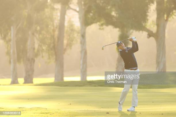 Matt Kuchar of the United States plays a shot on the 17th hole during the second round of the Genesis Invitational at Riviera Country Club on...
