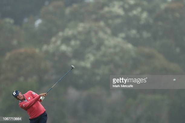 Matt Kuchar of the United States plays his second shot on the 17th hole during day one of the 2018 Australian Golf Open at The Lakes Golf Club on...