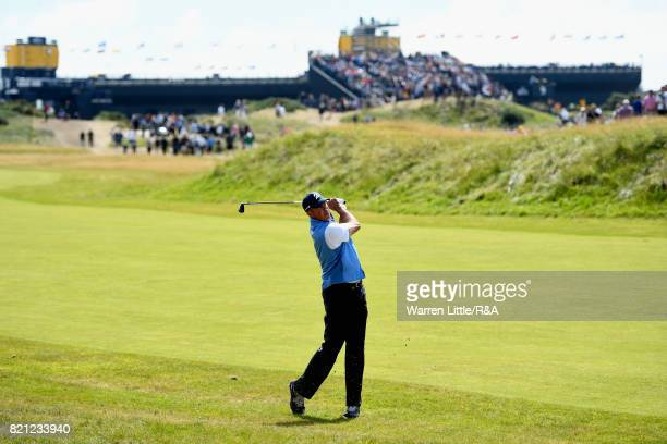 Matt Kuchar of the United States plays his second shot on the first hole during the final round of the 146th Open Championship at Royal Birkdale on...