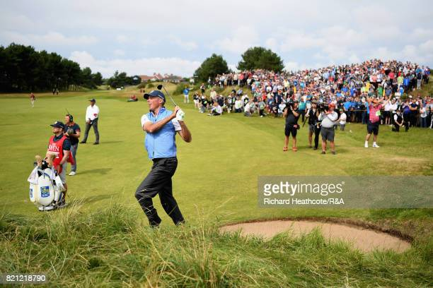 Matt Kuchar of the United States plays his second shot on the sixth hole during the final round of the 146th Open Championship at Royal Birkdale on...