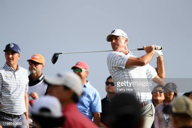 Matt Kuchar of the United States plays his shot from the 14th tee during the first round of the Sony Open in Hawaii at the Waialae Country Club on...