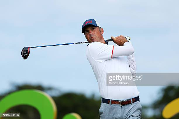 Matt Kuchar of the United States plays his shot from the 16th tee during the first round of men's golf on Day 6 of the Rio 2016 Olympics at the...