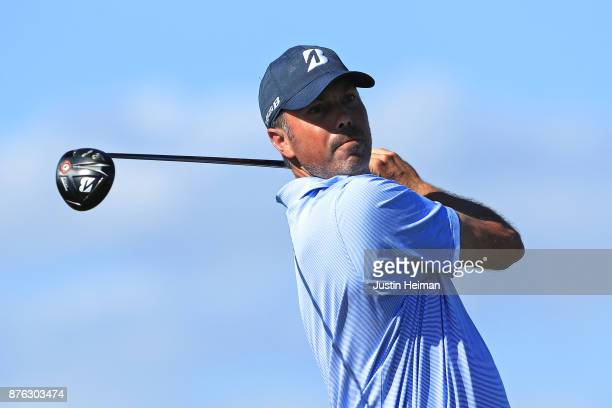 Matt Kuchar of the United States plays his shot from the 16th tee during the third round of The RSM Classic at Sea Island Golf Club Seaside Course on...