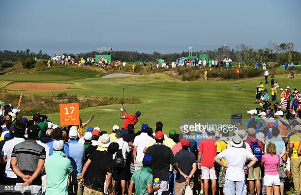 Matt Kuchar of the United States plays his shot from the 17th tee during the final round of men's golf on Day 9 of the Rio 2016 Olympic Games at the...