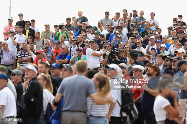 Kevin Kisner of the United States plays his shot from the third tee during the final round of the 147th Open Championship at Carnoustie Golf Club on...