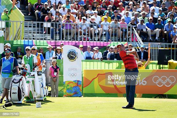 Matt Kuchar of the United States plays his shot from the first tee on Day 9 of the Rio 2016 Olympic Games at the Olympic Golf Course on August 14...