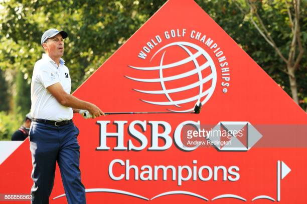 Matt Kuchar of the United States plays his shot from the first tee during the second round of the WGC HSBC Champions at Sheshan International Golf...