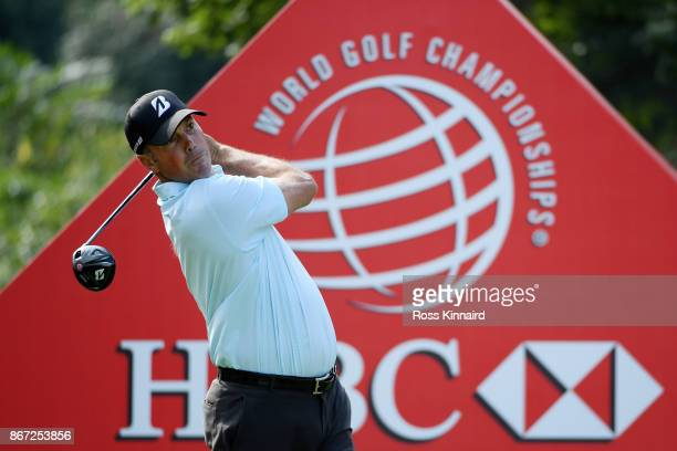 Matt Kuchar of the United States plays his shot from the first tee during the third round of the WGC HSBC Champions at Sheshan International Golf...