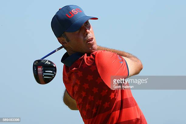 Matt Kuchar of the United States plays his shot from the ninth tee during the final round of men's golf on Day 9 of the Rio 2016 Olympic Games at the...