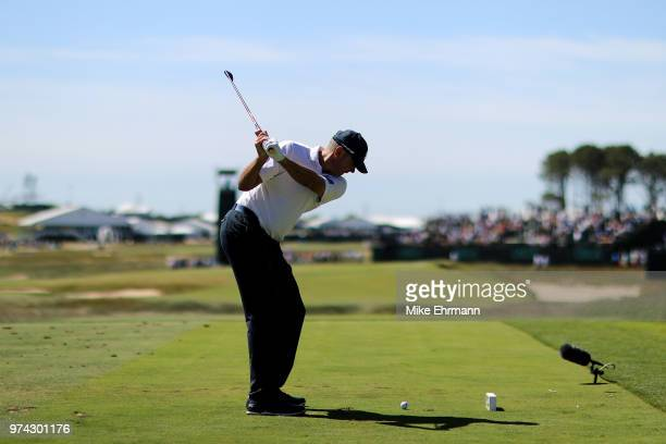 Matt Kuchar of the United States plays his shot from the seventh tee during the first round of the 2018 U.S. Open at Shinnecock Hills Golf Club on...