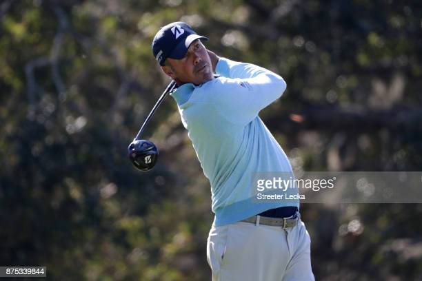 Matt Kuchar of the United States plays his tee shot on the second hole during the first round of The RSM Classic at Sea Island Golf Club Seaside...