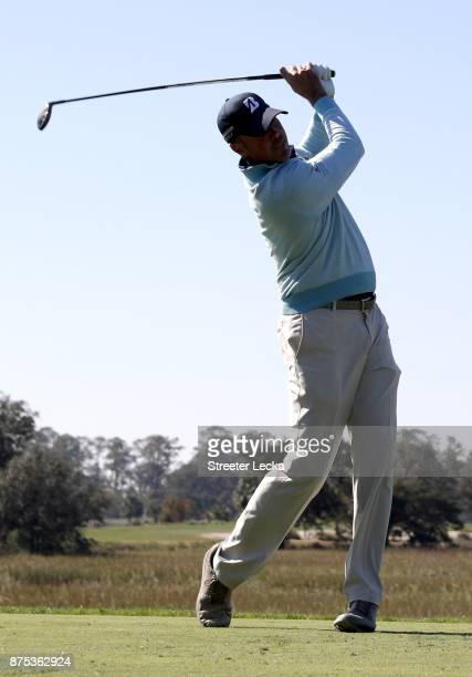 Matt Kuchar of the United States plays his tee shot on the third hole during the first round of The RSM Classic at Sea Island Golf Club Seaside...