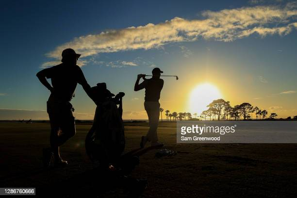Matt Kuchar of the United States plays on the practice range after the second round of The RSM Classic at Sea Island Golf Club on November 20, 2020...