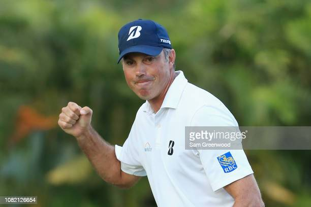 Matt Kuchar of the United States reacts on the 15th green during the final round of the Sony Open In Hawaii at Waialae Country Club on January 13...