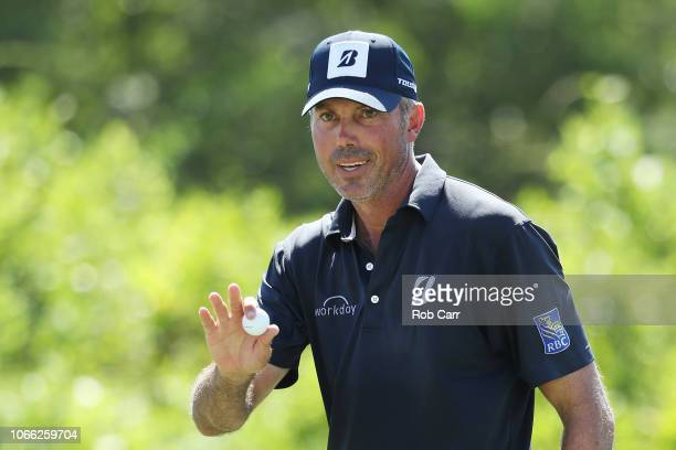 Matt Kuchar of the United States reacts to his birdie on the fifth green during the final round of the Mayakoba Golf Classic at El Camaleon Mayakoba...