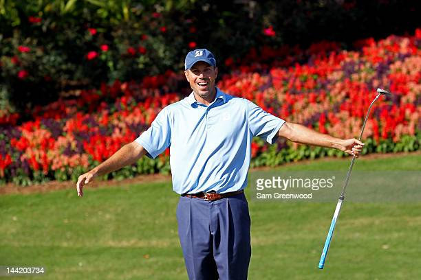 Matt Kuchar of the United States reacts to his putt on the 13th hole during the second round of THE PLAYERS Championship held at THE PLAYERS Stadium...