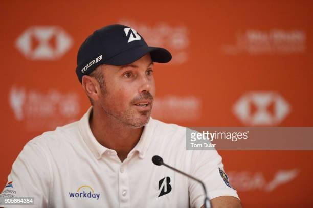Matt Kuchar of the United States speaks to the media prior to the Abu Dhabi HSBC Golf Championship at Abu Dhabi Golf Club on January 17 2018 in Abu...