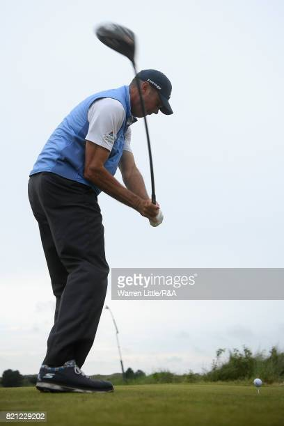 Matt Kuchar of the United States tees off on the 11th hole during the final round of the 146th Open Championship at Royal Birkdale on July 23 2017 in...