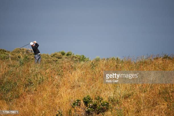 Matt Kuchar of the United States tees off on the 5th hole ahead of the 142nd Open Championship at Muirfield on July 15 2013 in Gullane Scotland