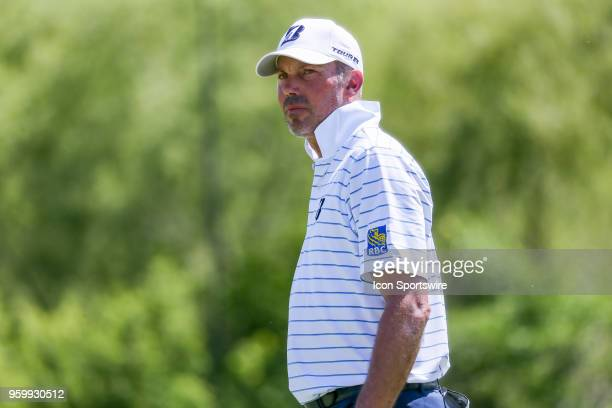 Matt Kuchar of the United States walks off the ninth green during the second round of the 50th anniversary AT&T Byron Nelson on May 18, 2018 at...