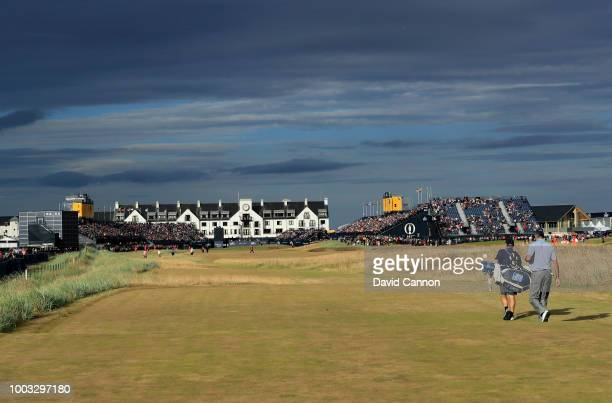 Matt Kuchar of the United States walks off the tee on the 18th hole during the third round of the 147th Open Championship at Carnoustie Golf Club on...