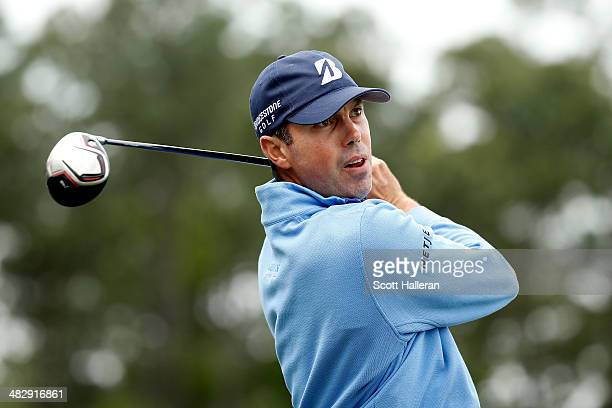 Matt Kuchar of the United States watches his tee shot on the eighth hole during round three of the Shell Houston Open at the Golf Club of Houston on...