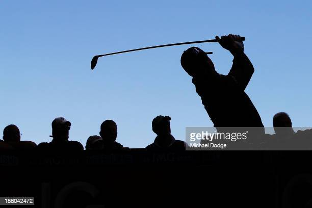 Matt Kuchar of the USA hits a tee shot during round two of the 2013 Australian Masters at Royal Melbourne Golf Course on November 15, 2013 in...