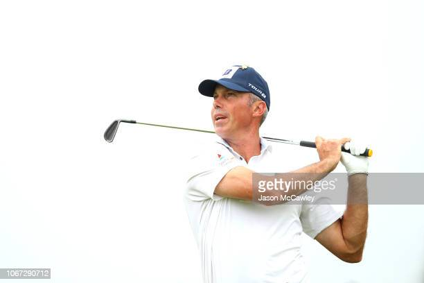 Matt Kuchar of the USA plays an approach shot ahead of the 2018 Australian Golf Open at The Lakes Golf Club on November 14 2018 in Sydney Australia