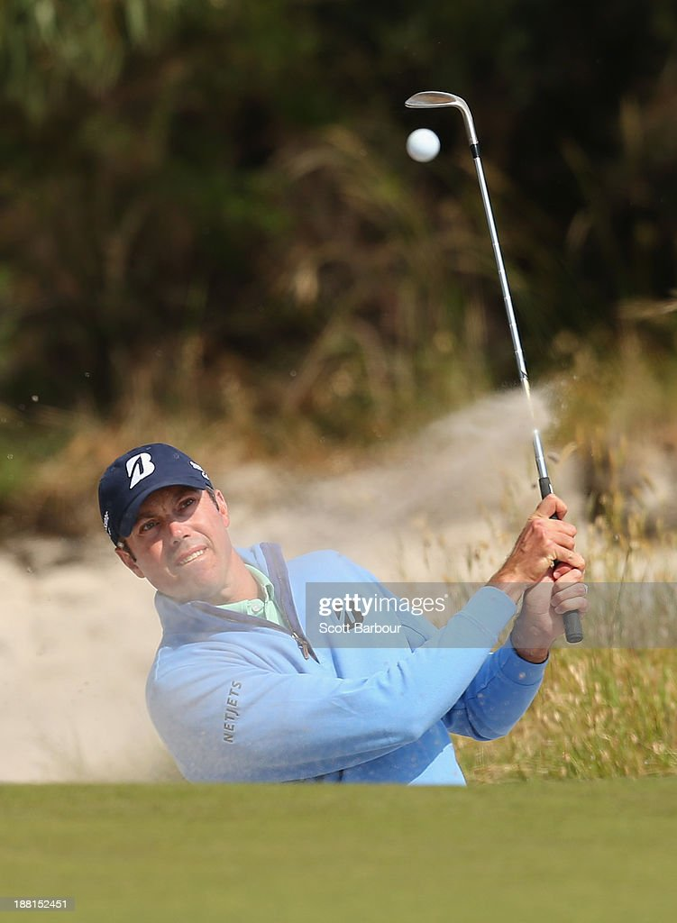 Matt Kuchar of the USA plays out of a bunker on the 15th hole during round three of the 2013 Australian Masters at Royal Melbourne Golf Course on November 16, 2013 in Melbourne, Australia.