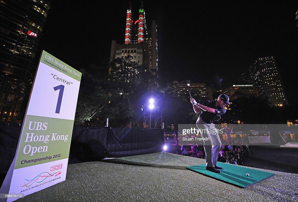 Matt Kuchar of USA plays a shot during the urban golf challenge prior to the start of the UBS Hong Kong open at charter gardens on November 14, 2012 in Hong Kong, Hong Kong.