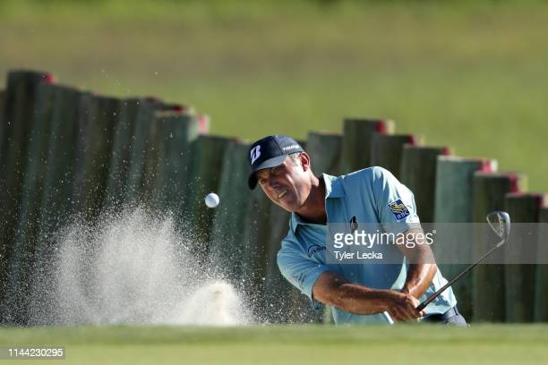 Matt Kuchar plays a shot from a bunker on the 17th hole during the final round of the 2019 RBC Heritage at Harbour Town Golf Links on April 21, 2019...