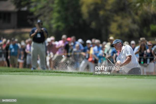 Matt Kuchar plays a shot from a bunker on the fifth hole during the second round of the RBC Heritage at Harbour Town Golf Links on April 13 2018 in...