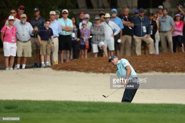 Matt Kuchar plays a shot from a bunker on the second hole during the final round of the 2018 RBC Heritage at Harbour Town Golf Links on April 15 2018...