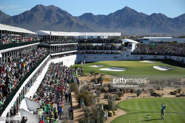 Matt Kuchar plays a tee shot on the 16th hole during the third round of the Waste Management Open at TPC Scottsdale on February 01 2020 in Scottsdale...