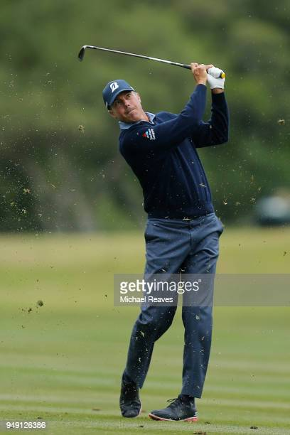 Matt Kuchar plays his second shot on the first hole during the second round of the Valero Texas Open at TPC San Antonio ATT Oaks Course on April 19...