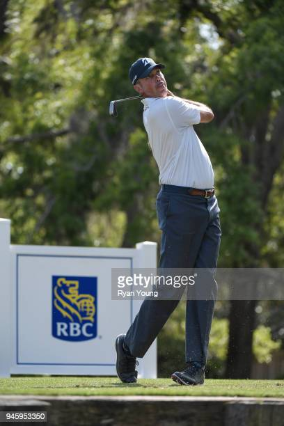 Matt Kuchar plays his shot from the 13th tee during the second round of the RBC Heritage at Harbour Town Golf Links on April 13 2018 in Hilton Head...