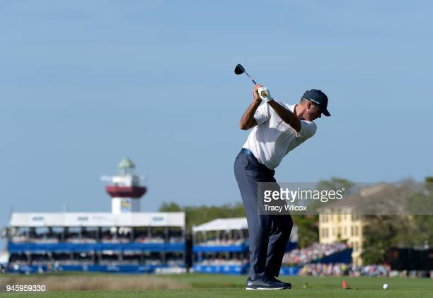Matt Kuchar plays his shot from the 18th tee during the second round of the RBC Heritage at Harbour Town Golf Links on April 13 2018 in Hilton Head...