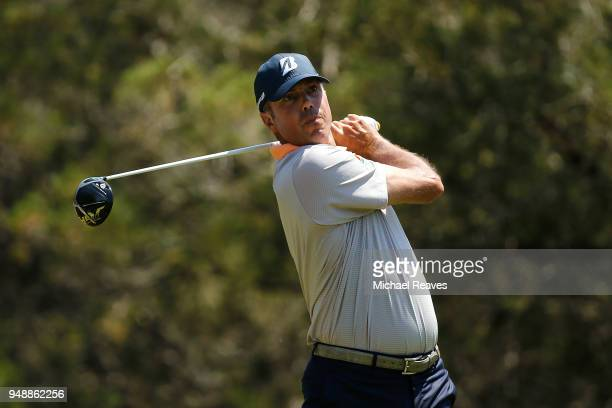 Matt Kuchar plays his shot from the fifth tee during the first round of the Valero Texas Open at TPC San Antonio ATT Oaks Course on April 19 2018 in...