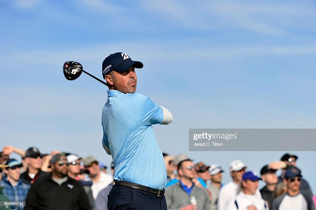 Matt Kuchar plays his tee shot on the 15th hole during the second round of the Waste Management Phoenix Open at TPC Scottsdale on February 3, 2017 in Scottsdale, Arizona.