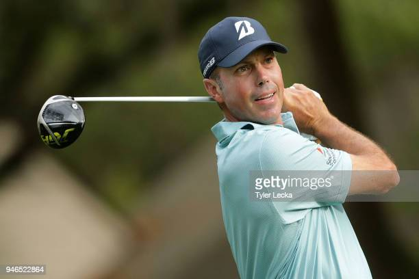 Matt Kuchar plays his tee shot on the second hole during the final round of the 2018 RBC Heritage at Harbour Town Golf Links on April 15 2018 in...