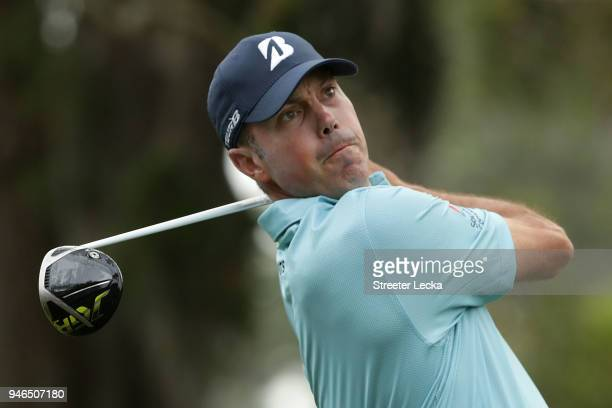 Matt Kuchar plays his tee shot on the third hole during the final round of the 2018 RBC Heritage at Harbour Town Golf Links on April 15 2018 in...