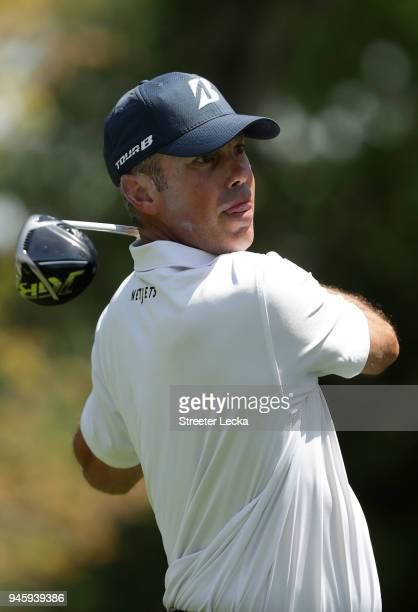 Matt Kuchar plays his tee shot on the third hole during the second round of the 2018 RBC Heritage at Harbour Town Golf Links on April 13 2018 in...
