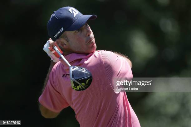 Matt Kuchar plays his tee shot on the third hole during the third round of the 2018 RBC Heritage at Harbour Town Golf Links on April 14 2018 in...