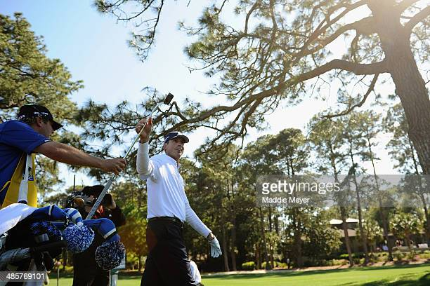 Matt Kuchar plays the 16th hole during the final round of the RBC Heritage at Harbour Town Golf Links on April 20 2014 in Hilton Head Island South...
