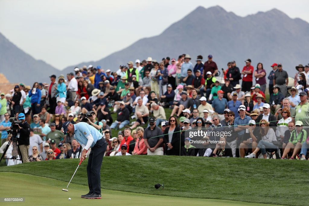Matt Kuchar putts on the ninth green during the second round of the Waste Management Phoenix Open at TPC Scottsdale on February 3, 2017 in Scottsdale, Arizona.