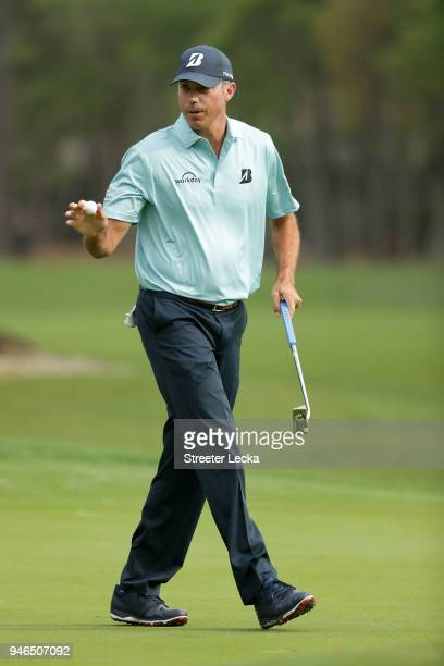 Matt Kuchar reacts after a putt on the second green during the final round of the 2018 RBC Heritage at Harbour Town Golf Links on April 15 2018 in...