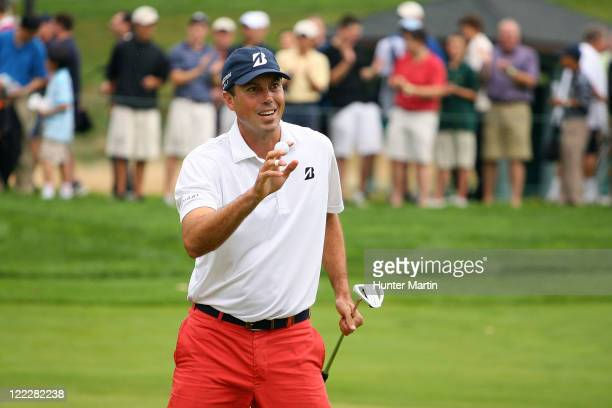 Matt Kuchar reacts after he made a birdie putt on the seventh hole during the third and final round of The Barclays at Plainfield Country Club on...