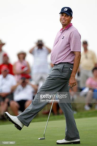 Matt Kuchar reacts to a missed birdie putt on the 15th green during the second round of the 92nd PGA Championship on the Straits Course at Whistling...